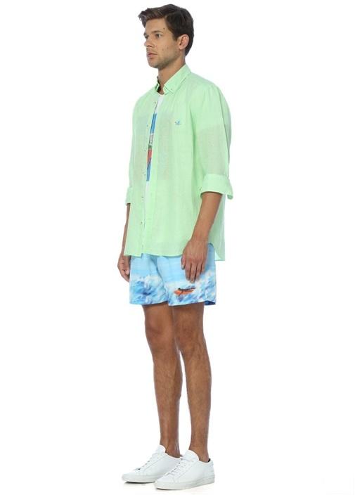 Yeşil Keten Comfort Fit Gömlek