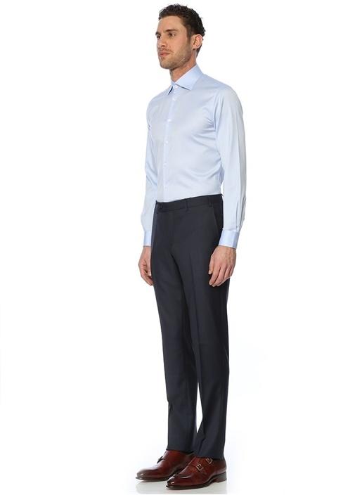 Mavi Desenli Slim Fit Oxford Gömlek
