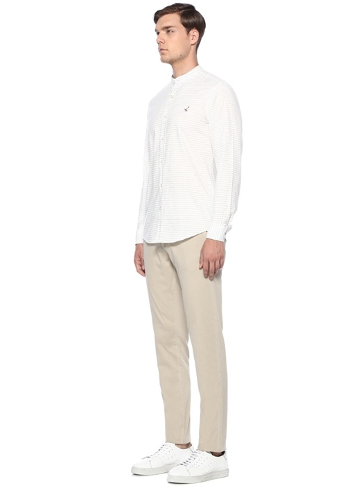 Slim Fit Mao Yaka Beyaz Çizgili Gömlek