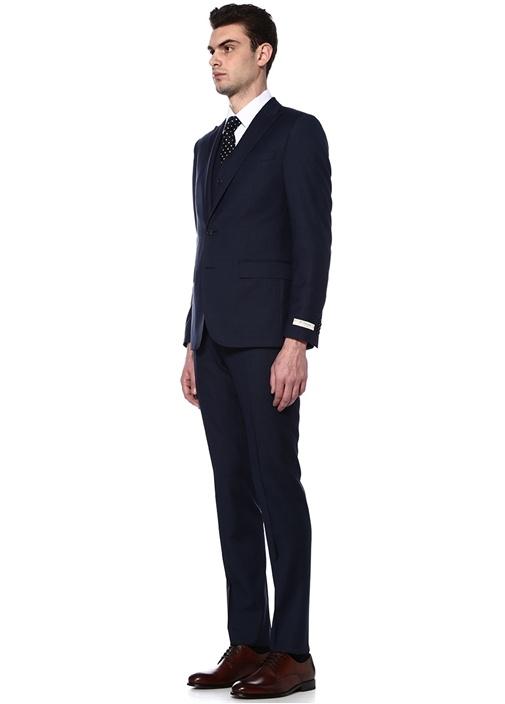 Drop 8 Lacivert Kareli Yelekli Takım Elbise