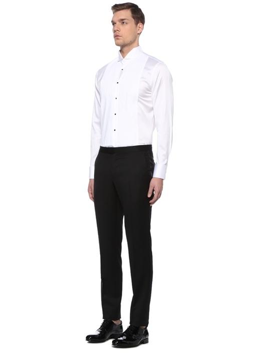Custom Fit Beyaz Ata Yaka Pliseli Smokin Gömleği