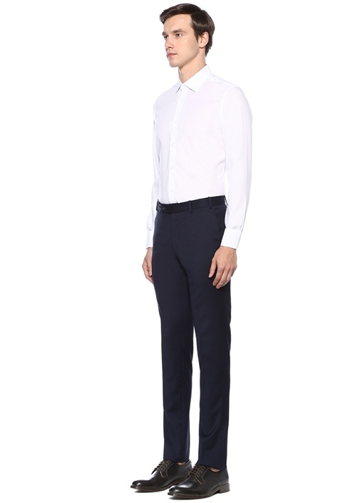 Slim Fit Beyaz Non Iron Dokulu Gömlek