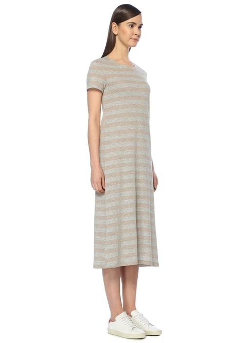 Gri Arka Fiyonk Bağlamalı Jersey Midi Elbise