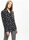 Lacivert Puantiye Çiçek Desenli İpek Gömlek