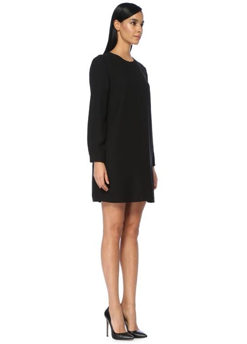 Siyah Arkası Pileli Krep Mini Elbise