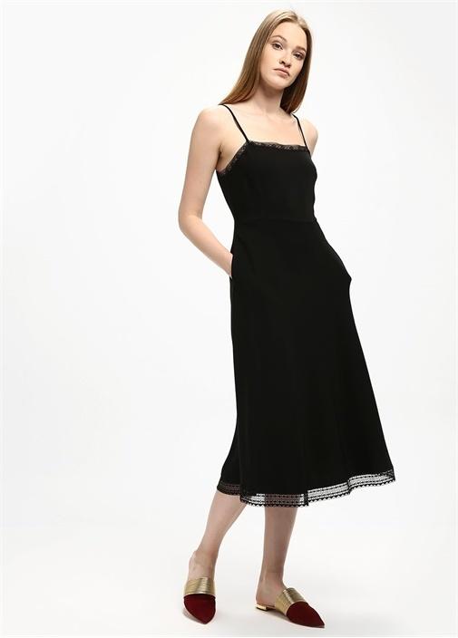 Siyah Dantel Şeritli Krep Midi Elbise