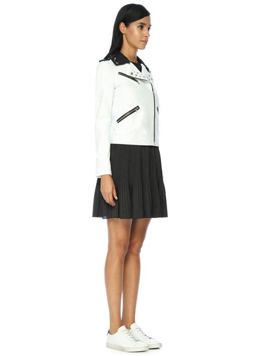 Fermuarlı Zımba Detaylı Beyaz Deri Ceket