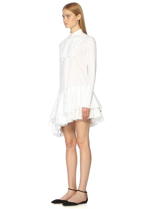 Asimetrik Etek Kesimli Beyaz Midi Elbise