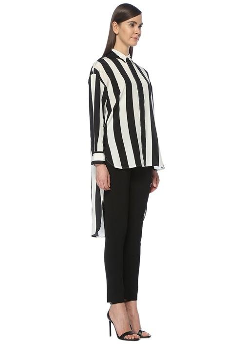 Siyah Beyaz Çizgili Arkası Uzun İpek Gömlek