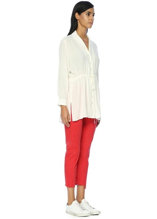 Yüksek Bel Dikiş Detaylı Kırmızı Jean Pantolon