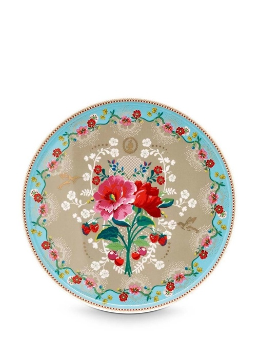 Floral Pip Güllü Haki Kek Standı