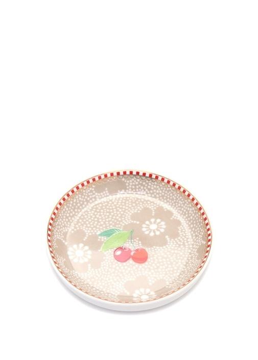 Floral Pip Kirazlı Haki Çay Tabağı