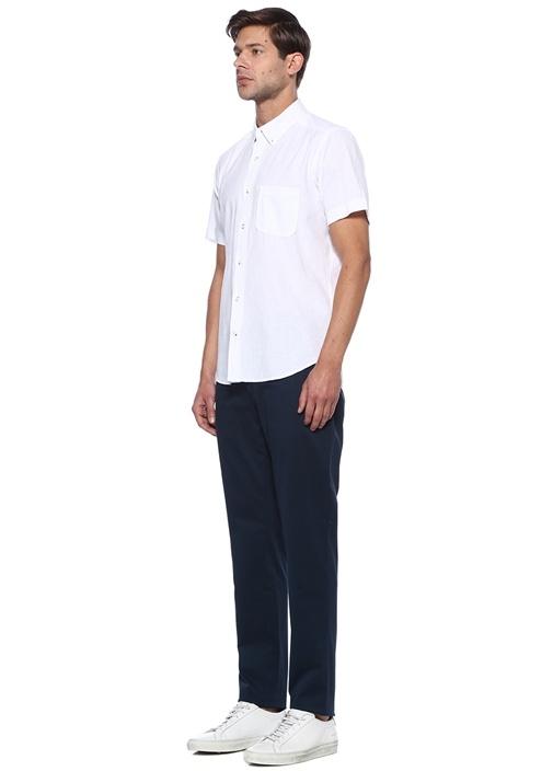 Custom Fit Beyaz Keten Gömlek