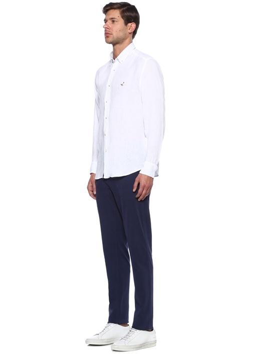 Beyaz Comfort Fit Keten Gömlek