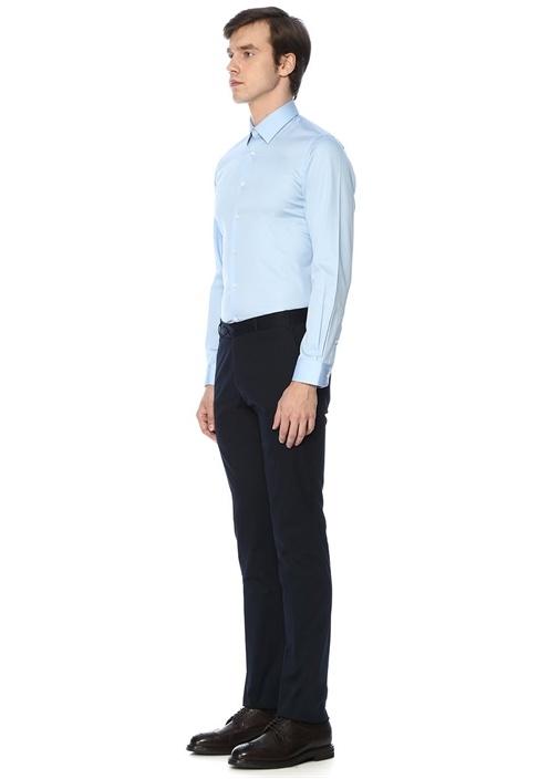 Custom Fit Mavi İtalyan Yaka Saten Gömlek