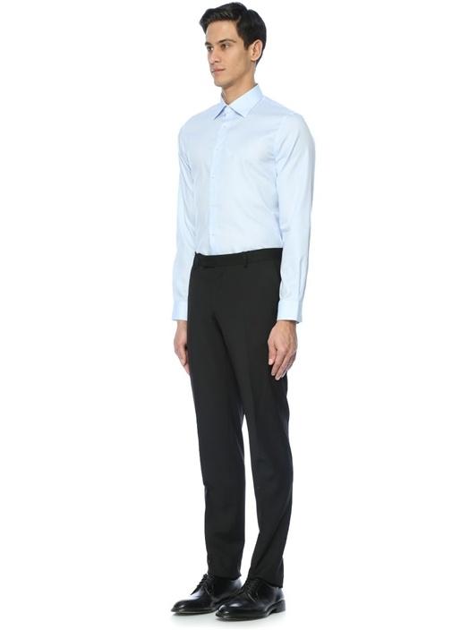 Custom Fit Mavi Modern Yaka İnce Twill Gömlek