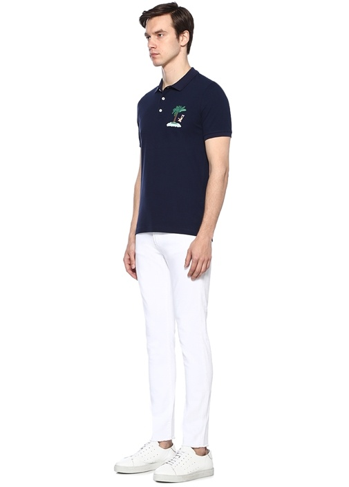 Lacivert Ada Nakışlı Polo Yaka T-shirt