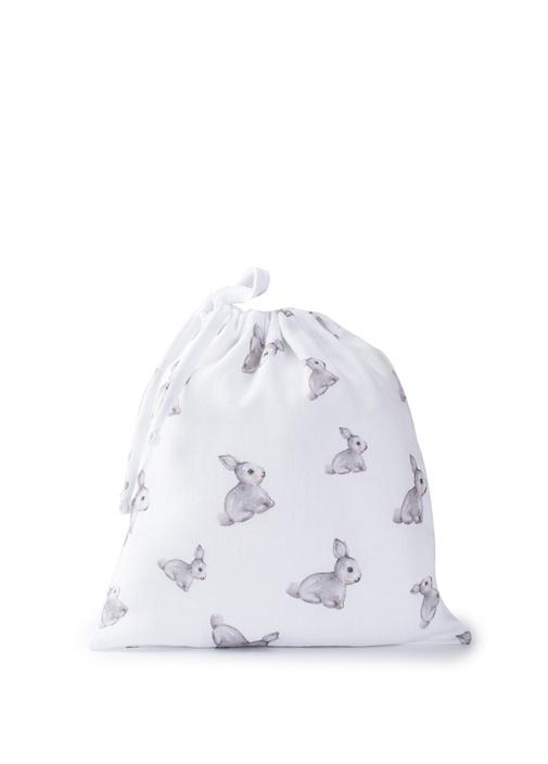 Beyaz Çantalı Tavşan Baskılı Unisex Bebek Örtü