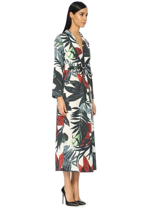 Kırık Beyaz Tropik Desen Kimono Ceket