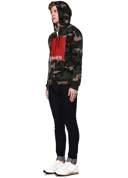 Kapüşonlu Kamuflaj Desenli Baskılı Sweatshirt