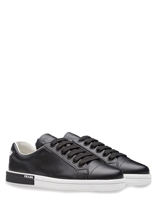 Calf Siyah Deri Kadın Sneaker
