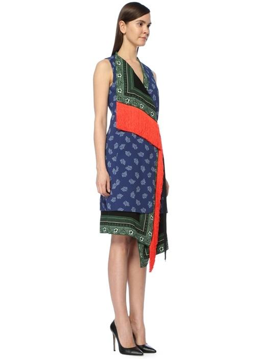 Bina Lacivert Asimetrik Çiçekli Midi Elbise