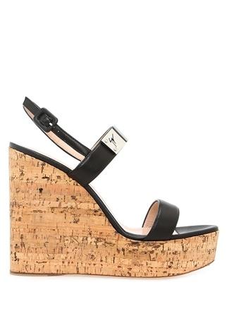 Kadın Siyah Logo Bant Detaylı Deri Sandalet 36.5 EU