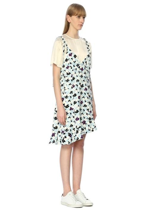2 in 1 Jackie Flowers Mavi Asimetrik Mini Elbise
