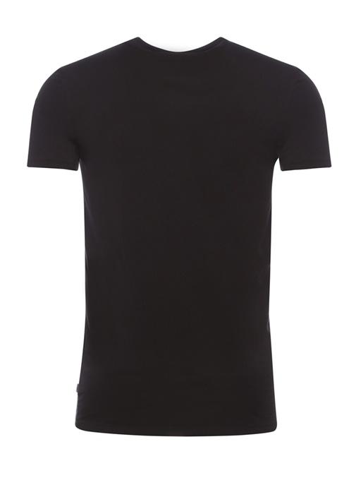 Siyah Bisiklet Yaka Streç T-shirt
