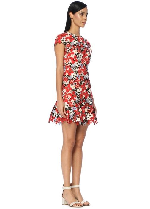 Imani Kırmızı Desenli Mini Elbise