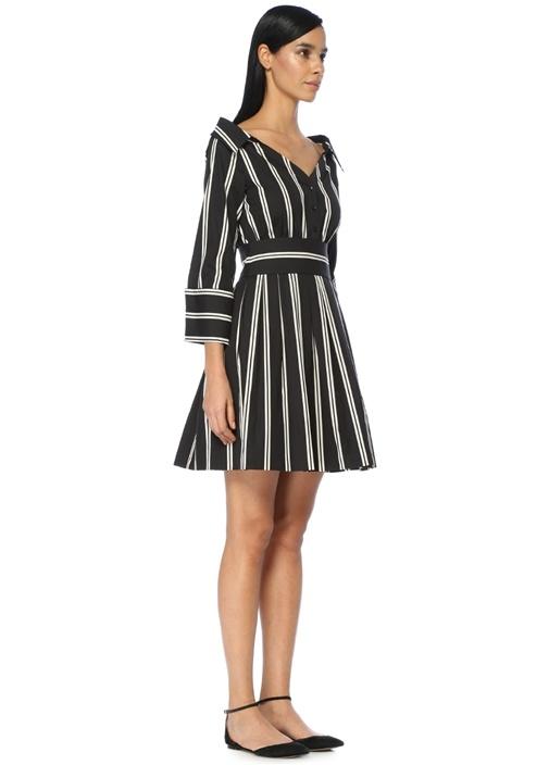 Siyah Beyaz Çizgili Mini Elbise