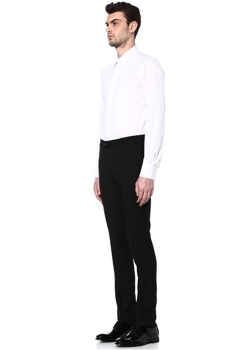Beyaz Nervürlü İngiliz Yaka Smokin Gömleği