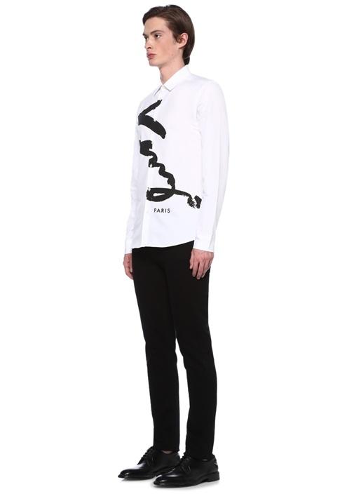 Slim Fit Beyaz Logo Baskılı Gömlek