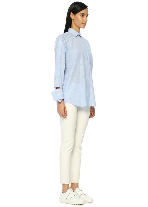 Mavi İngiliz Yaka Çizgili Gömlek