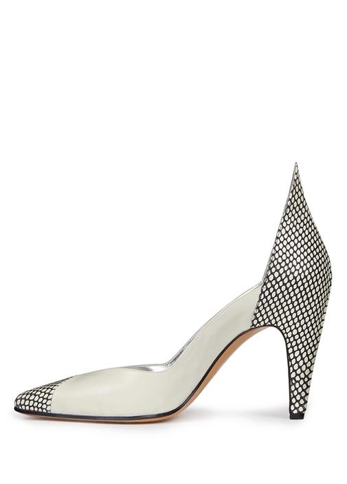 Beyaz Siyah File Desenli Deri Topuklu Ayakkabı