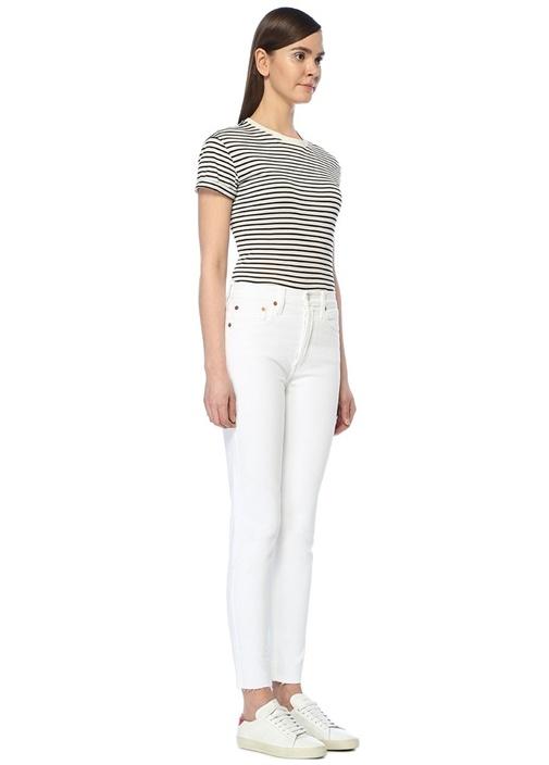 Beyaz Yüksek Bel Streç Crop Jean Pantolon