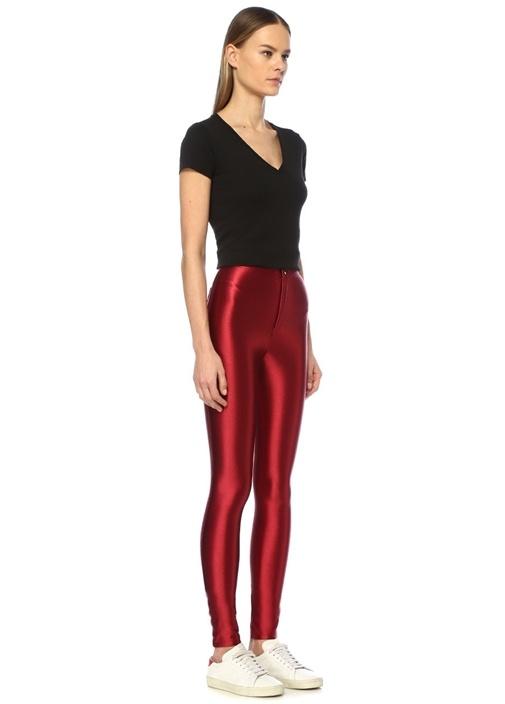 Cecile Kırmızı Yüksek Bel Parlak Streç Pantolon