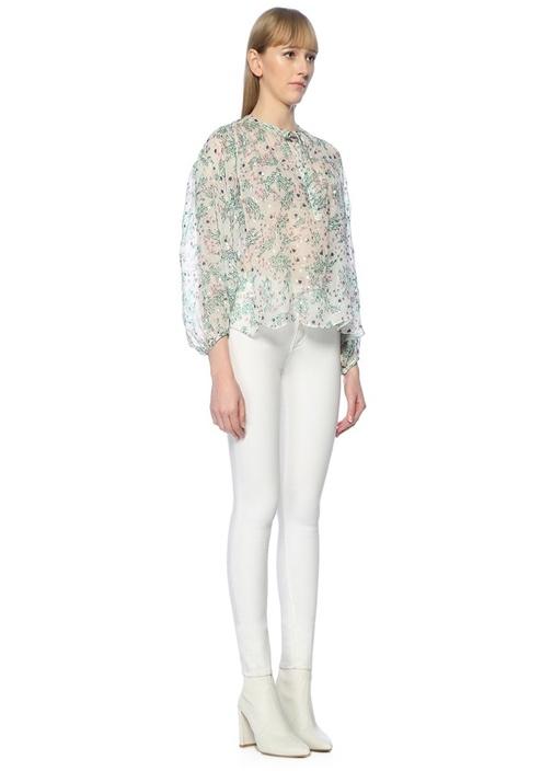 Beyaz Çiçekli Gold Puanlı İpek Bluz