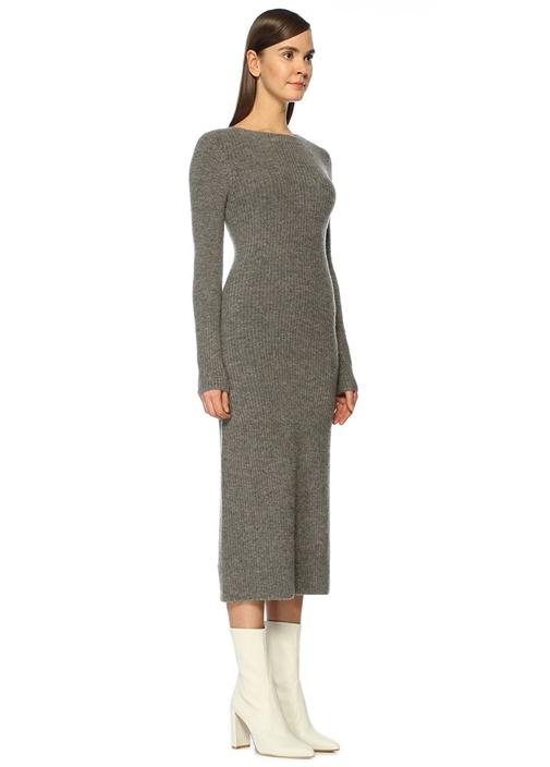 Faria Gri Uzun Kollu Midi Elbise