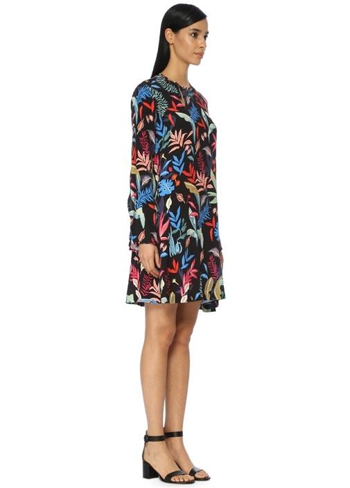 Siyah Çiçekli Midi Elbise