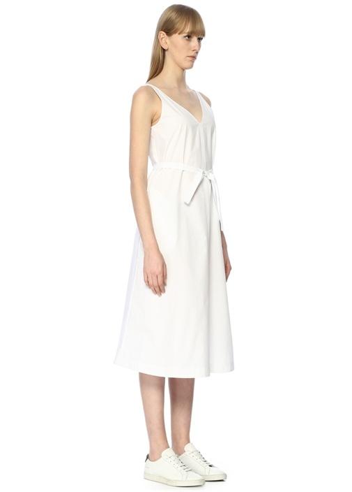 Beyaz V Yaka Kuşaklı Midi Elbise