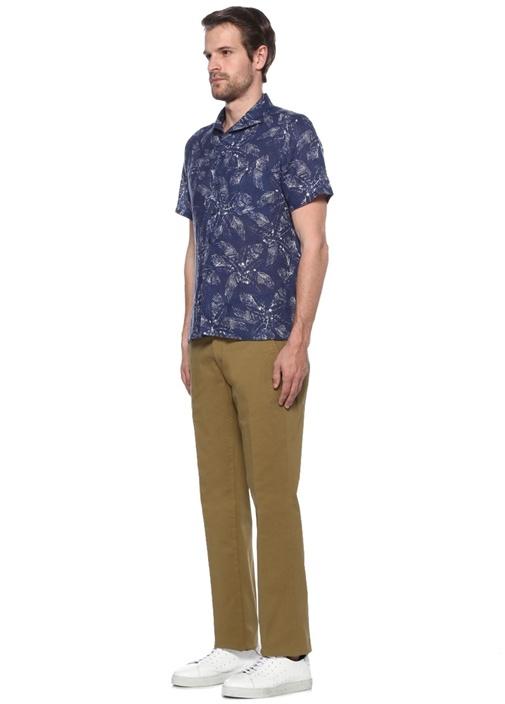Yeşil Normal Bel Dar Paça Chino Pantolon