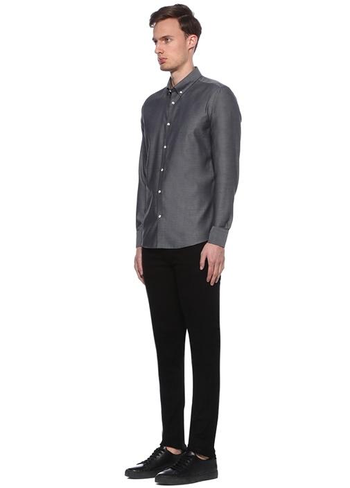 Slim Fit Non İron Amürlü Siyah Spor Gömlek