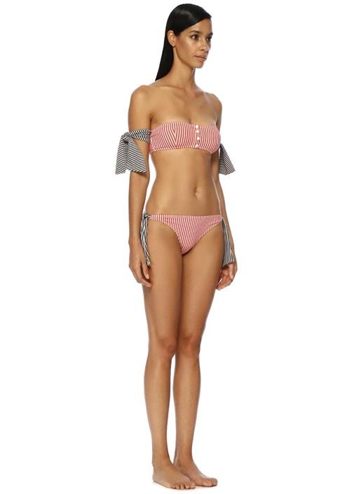 The Mackenzie Kırmızı Çizgili Straplez Bikini Üstü