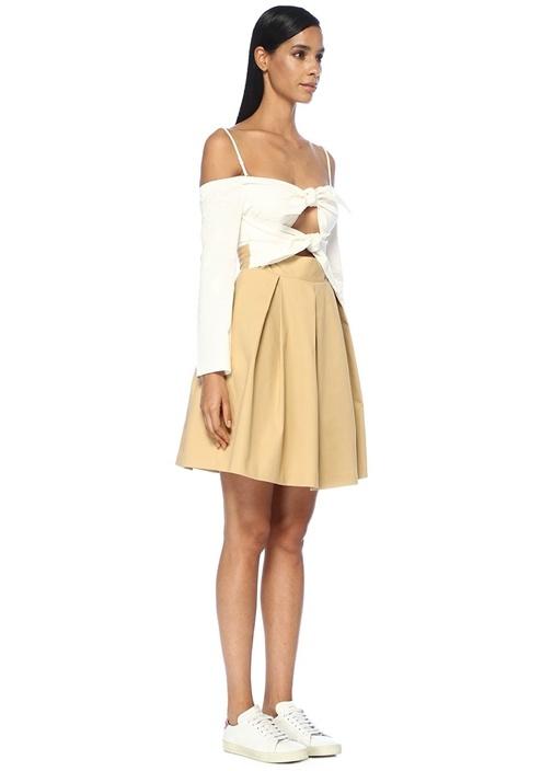 Bej Beyaz Omzu Açık Önü Düğümlü Mini Elbise