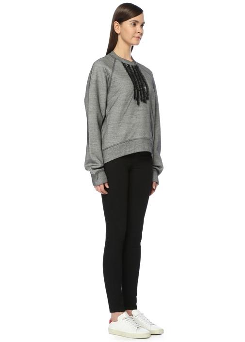 Gri Fırfırlı Tül Detaylı Sweatshirt