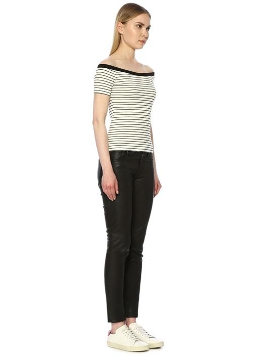 Siyah Beyaz Çizgili Düşük Omuzlu T-shirt