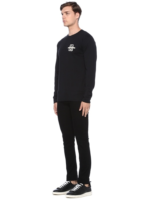 Regular Fit Siyah Baskılı Uzun Kollu T-shirt