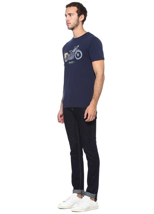 Lacivert Motosiklet Baskılı Basic T-shirt