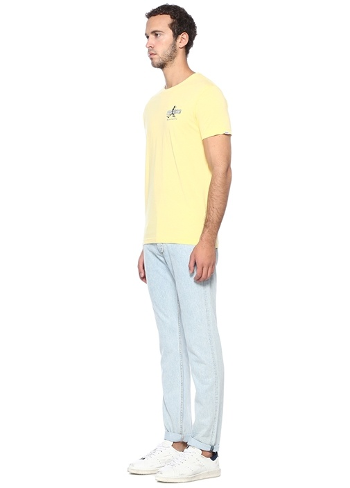 Slim Fit Loggins Sarı Baskılı Basic T-shirt